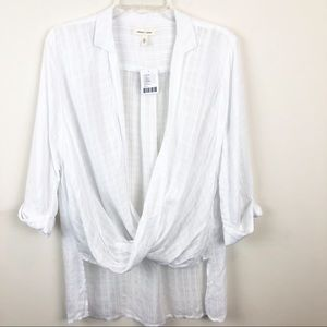 Anthro Silence+ Noise White Twist High-Low Top SM